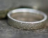 Thick Sterling Silver Band-  Herringbone Texture Sterling Silver