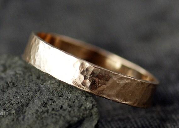 10k Gold Wedding Band with Hammered Finish- Custom Made