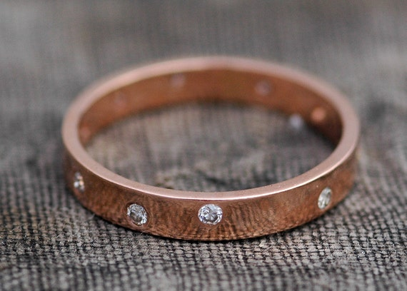14k Recycled Gold Ring with White Diamonds- Custom Made Wedding Band