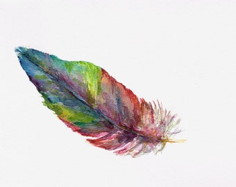 Feather 6. Watercolour red and blue Macaw Parrot Painting, Original Art