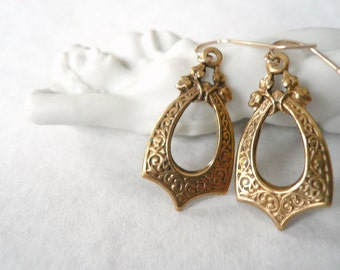Gold art deco earrings. Vintage deco pendants. Detailed gold hoops. Gold pointed dangles. Hollow teardrop earrings. New gold fill earwires.