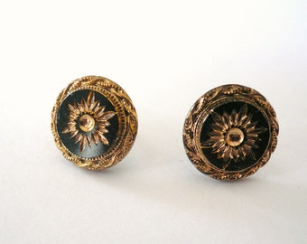 Jet black and gold sunburst post earrings with 14K gold fill GF posts. Victorian style earrings.