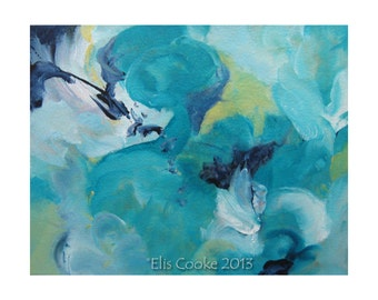 Original Abstract Expressionism Art Modern Contemporary Painting turquoise Musing 100