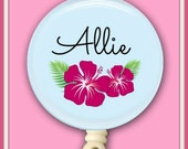 Personalized Hawaiian Hibiscus Flower Badge Holder ID retractable reel for Nurses Teachers any Profession