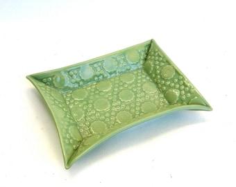 hand built porcelain tray  ...   celadon green