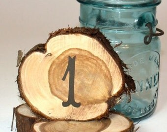 Table Numbers, Rustic Wedding Decoration, cedar circles, set of 10, natural unfinished cedar wood for rustic or woodland weddings