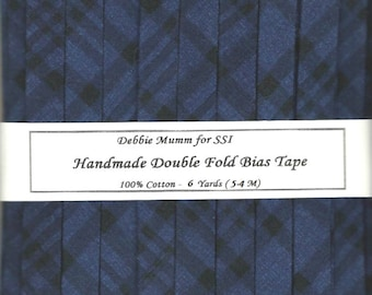 Double Fold BIAS Tape - Navy Blue and Black Plaid