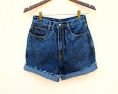 Acid Wash Blue Denim Shorts 80s RIO Jeans W 25 26 cut-off shorts Roll Up, Womans High Rise Shorts XS S