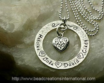 Antique Looking Sterling Silver Hand Stamped Necklace with 4 Names and a Decorative Heart Charm with a Hammered Tarnish Look