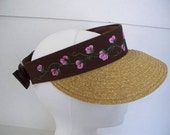 Women's Sun Sport Visor Brown with hand painted Roses