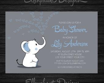 Baby elephant Baby Shower Invitation, blue, hearts, baby sprinkle, boy baby, elephant invitation, custom invite, digital file, you print
