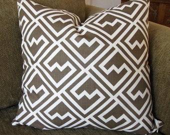 "One Decorative Throw Pillow Cover, 18"" x 18"", Italian Brown and White Geometric  Print"