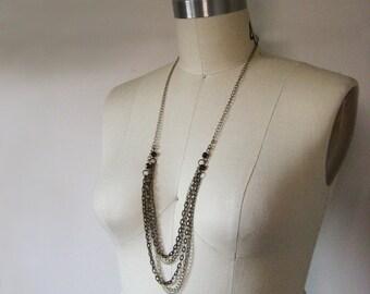 Muli-strand Necklace / Valentines Day / Metal Chain Necklace Valentine Gift / Draped Chain Necklace / Long multi-strand chain necklace