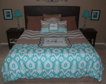 Custom Personalized Chevron and Ikat Duvet Cover with shams -Available Twin, Queen or King  size - your colors