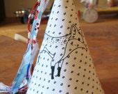Fox print fabric party hat