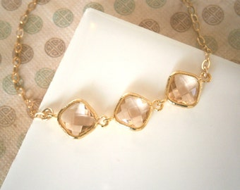 Triple Blush Diamond Bracelet, Gold Bracelet, Gold Necklace, Blush Champagne Necklace