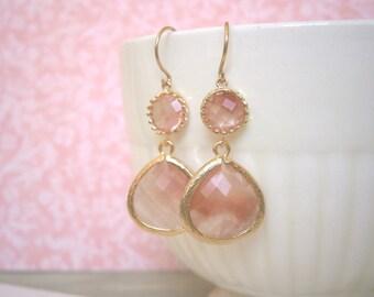 Coral Earrings, Grapefruit Earrings, Gold Earrings, Bridesmaid Gift, Best Friend Birthday