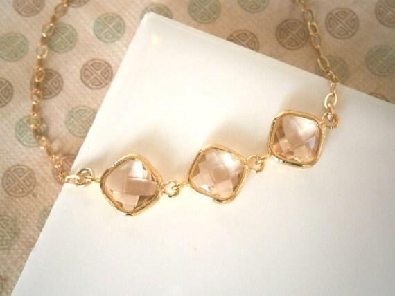 Blush Bracelet, Gold Bracelet, Gold Necklace, Blush Champagne Necklace