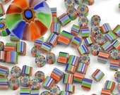 RAINBOW - Murrini chips - red orange green blue purple - SRA Handmade for Glass Artists by CCGlassArt - coe 104 - millefiore