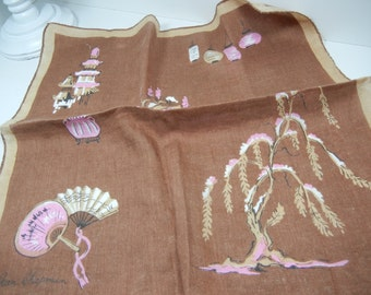 Asian motif Hankie / Jean Chapman vintage Hanky with pink pagoda lanterns tree fan bridge on brown / rolled edge / cotton / Gift / Mother