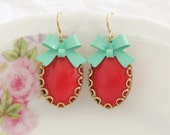 Coral Red Scallop Turquoise Bow Earrings - Rhinestone Gold Lace Scallop Gold Plated Dangle Earrings - Wedding, Bridal, Bridesmaid, Preppy