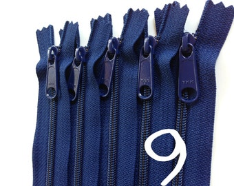 9 inch YKK handbag zippers with long pull, navy, FIVE pcs, 4.5 mm nylon coil, YKK color 919, great for wristlets, bags