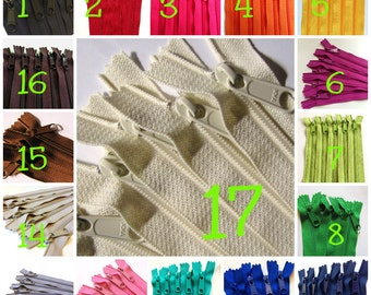 Long handbag zippers, long pull, 22 inches, Choose 25 pcs: red, blues, pink, fuchsia, green, buttercup, orange, beige, navy, brown, black