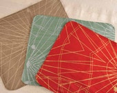 Set of 6 Eco Silk Placemats Waterproof Washable Abstract Design Upcycled Fabrics Table Runner