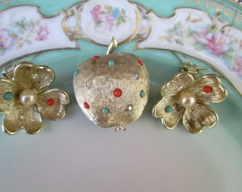 Vintage Apple and Apple Blossom flower Brooch and earring Set With rhinestones