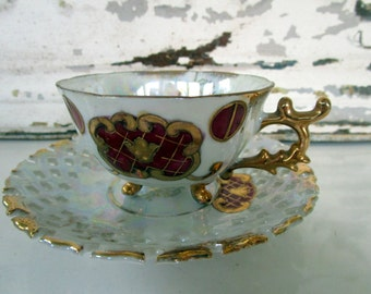 Vintage Teacup Tea Cup and Saucer Lusterware Gold Gilding Red floral Footed Demitasse