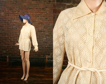 Vintage 60s Iconic Beach Cover Up Bathing Suit Coverup Jacket Mod Flower Lace Cream Shirt Pool Side Top (L)