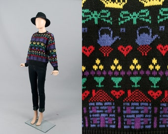 Vintage 80s Novelty Knit Cotton Sweater Jumper - Hearts, Houses,  Crowns, and Bows (M)