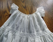 Vintage Mid-19th Century Infant Gown with Borderie Anglaise Sleeves