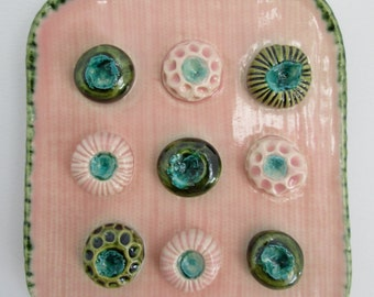Pink and Green Ceramic Soap Dish with Spore Pod Soap Holders 4