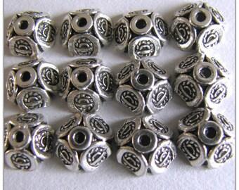 Bead Cap,  Tibetan Silver,  8 mm Bead Cap, 1 lot of 24 pieces, Supplies, Findings,  Item#1048