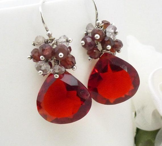 Dark red earrings, Sterling Silver garnet and bright red quartz cluster earrings, Dark red jewelry