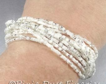 Multi-Strand Bridal Bracelet, White, Silver and Crystal Bridal Bracelet, Multi-Strand Wedding Bracelet, Seed Bead Bracelet - Katie WB0149