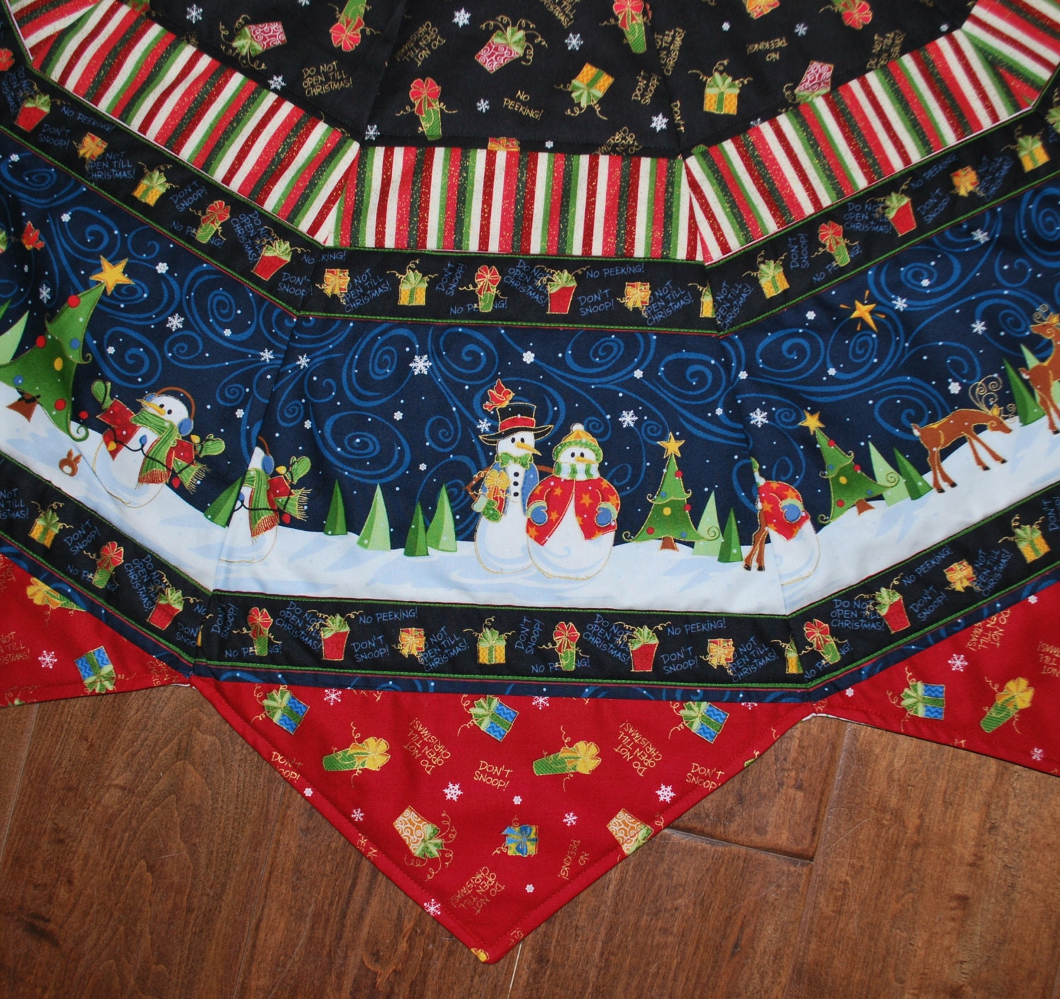 Handmade cotton quilted christmas tree skirt large pointed
