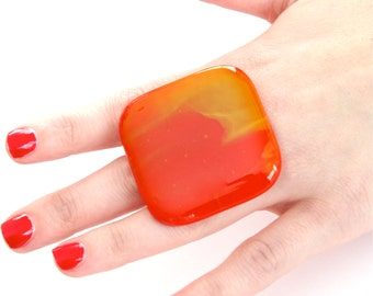 Big Ring Glass - handmade bold big adjustable cocktail ring - FASHIONISTA - 1.9 inch