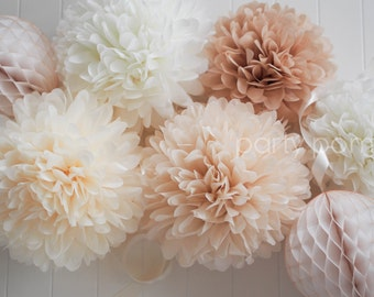 NEUTRALS tissue poms // wedding decoration // baby shower