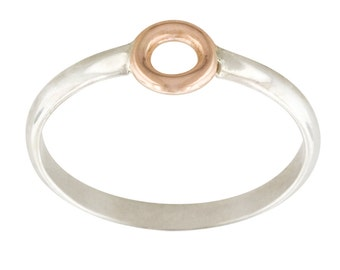 14k Yellow or Rose Gold and Sterling Silver Circle Ring // Simple Mixed Metals Ring
