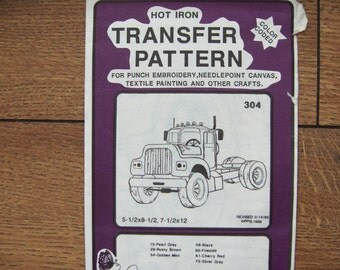 Vintage 80s Embroidery transfers 304 TRUCK uncut 5 1/2 x 8 1/2 , 7 1/2 x 12