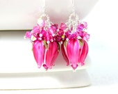 Fuchsia Flower Earrings, Crystal Earrings, Floral Earrings, Lampwork Earrings, Hot Pink Earrings, Floral Jewelry, Tulip Earrings - Fuchsia