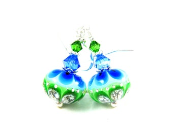Green & Blue Glass Dangle Earrings, Geometric Earrings, Bright Colorful Earrings, Lampwork Earrings, Boho Chic Earrings, Modern Earrings