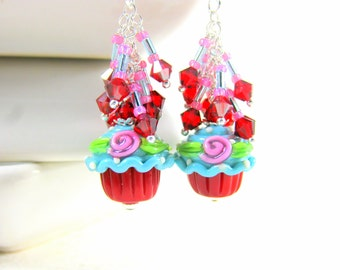 Cupcake Earrings, Food Jewelry, Red Blue Pink Earrings, Lampwork Earrings, Crystal Dangle Earrings, Glass Earrings, Cake Earrings  Sprinkles