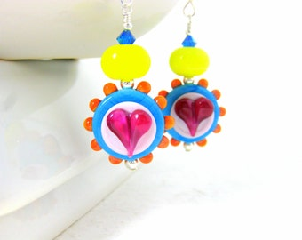 Colorful Glass Earrings, Heart Earrings, Colorful Jewelry, Lampwork Earrings, Blue Pink Orange Earrings, Whimsical Earrings - Summer Lovin