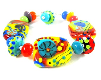 Colorful Glass Bracelet, Statement Bracelet, Funky Primary Colors Bright Colors Lampwork Bracelet, Abstract Unique OOAK Jewelry Cogs & Gears