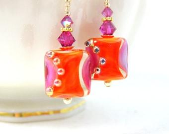 Orange Hot Pink Glass Earrings, Statement Jewelry, Square Earrings, Lampwork Earrings, Modern Jewelry Art Glass Fall Jewelry - Jazz