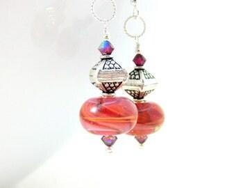 Orange Pink Red Glass Earrings, Dangle Earrings, Sterling Silver Jewelry, Boro Lampwork Earrings, Boho Jewelry, Art Glass Earrings - Pagoda