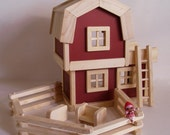 Ready to ship, Wooden Toy Barn, Wood Farm Play Set, Gender Neutral Toy, Handmade Toy, Waldorf, Kids gift, Easter gift, Jacobs Wooden Toys